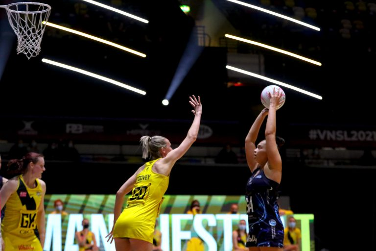 Paige Reed of Severn Stars during Vitality Super League match between Manchester Thunder and Severn Stars at Copper Box Arena, London, England on 29th May 2021.