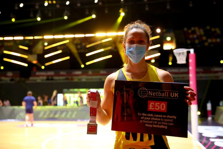 Player of the Match, Caroline O'Hanlon of Manchester Thunder during Vitality Super League match between Manchester Thunder and Severn Stars at Copper Box Arena, London, England on 29th May 2021.