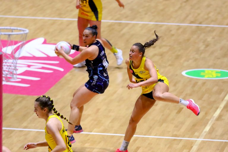 Liana Leota (captain) of Severn Stars during Vitality Super League match between Manchester Thunder and Severn Stars at Copper Box Arena, London, England on 29th May 2021.
