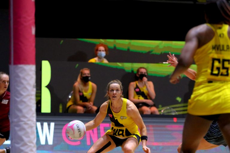 Action shot during Vitality Super League match between Manchester Thunder and Surrey Storm at Copper Box Arena, London, England on 30th May 2021.